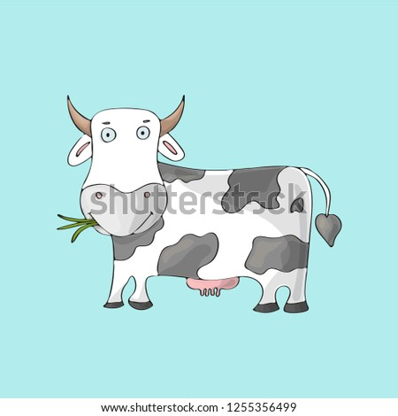 White cow on blue background. Isolated cartoon character