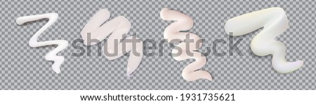 White cream smears swatch set isolated on transparent background.Vector realistic smears set of white froth cosmetics, shaving gel or creme. Smudges of mousse,vector illustration. Stock photo ©