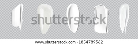 White creamy drop skincare cream product lotion thick fresh smooth smear isolated vector texture stock illustration.Realistic cosmetic cream smears.