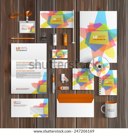 White creative corporate identity template design with art color elements. Business stationery