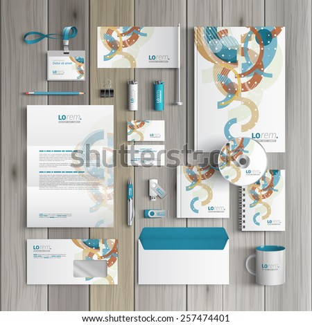 White creative corporate identity template design with art color pattern. Business stationery