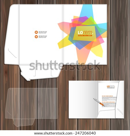 White creative folder template design for corporate identity with art color elements. Stationery set