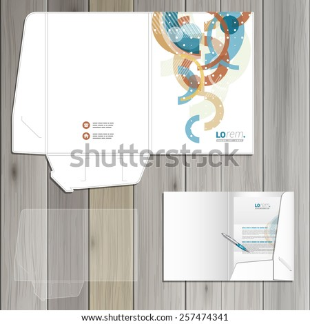 White creative folder template design for corporate identity with art color pattern. Stationery set