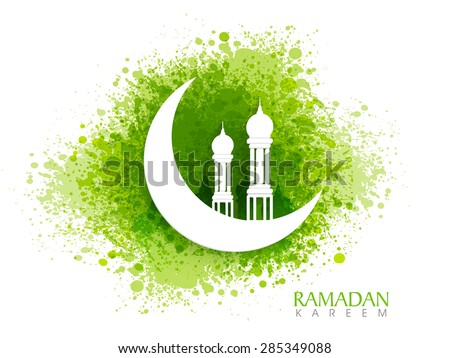 White Creative Mosque On Glossy Crescent Moon Green Color Splash Background For Islamic Holy Month