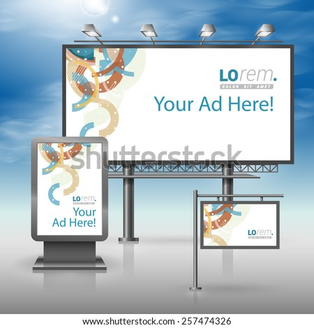 White creative outdoor advertising design for corporate identity with art color pattern. Stationery set