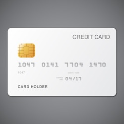 White credit card template on grey background