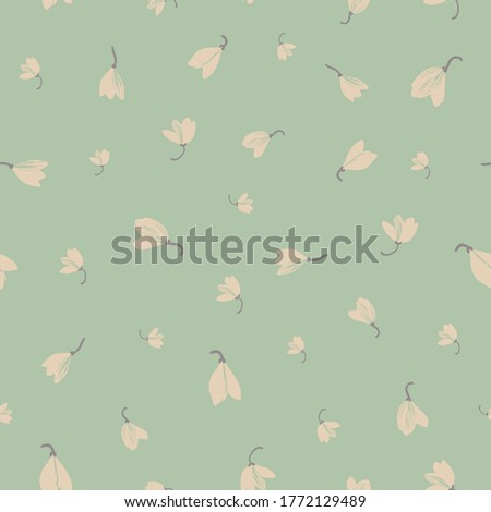 white crocus ditsy on pale teal