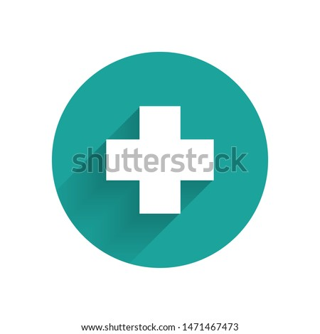 White Cross hospital medical icon isolated with long shadow. First aid. Diagnostics symbol. Medicine and pharmacy sign. Green circle button. Vector Illustration
