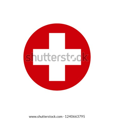 White cross in a red circle. First aid icon. Vector illustration