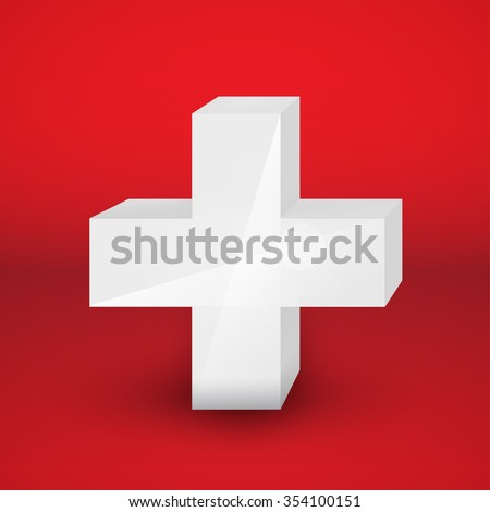 White cross on red background. Vector illustration for your graphic design.