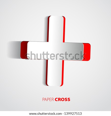 White cross with red back - sticker or card - vector