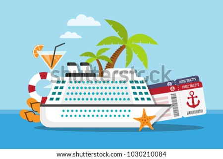 White cruise ship on the sea with travel accessories and tickets. Vector illustration