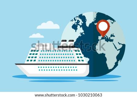 White cruise ship with globe. Mediterranean travel concept. Vector illustration