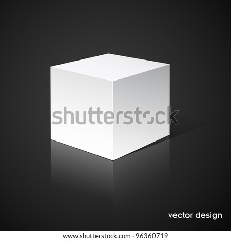 White cube on black background.