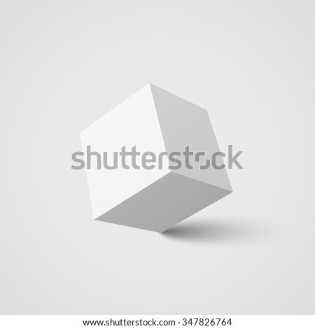 White cube. Vector illustration.