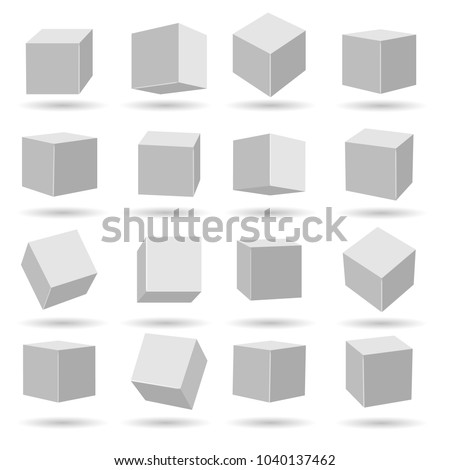 White cubes. Geometry modeling cube set isolated on white background, miscellaneous angles dimensional and perspective vector blocks models