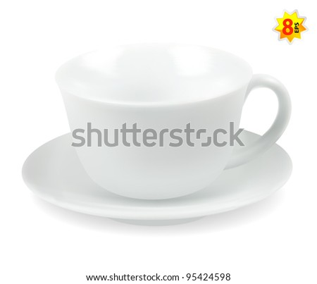 White cup and saucer - stock vector