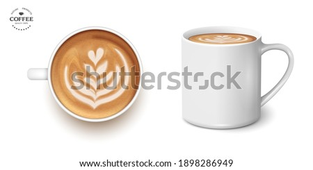 White cup of coffee latte tulip,set, 3d realistic vector style. Top view and side. Vector Isolated. Latte art barista Foto d'archivio ©