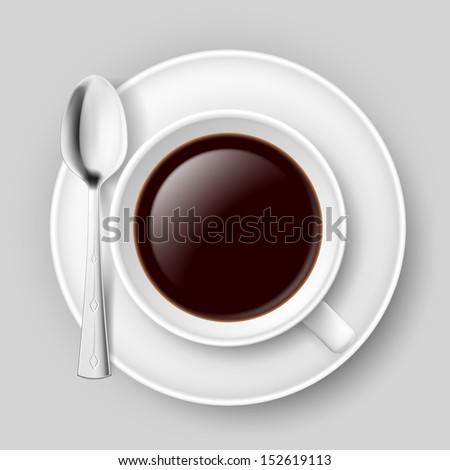 White cup of coffee with spoon on saucer. Illustration on grey.
