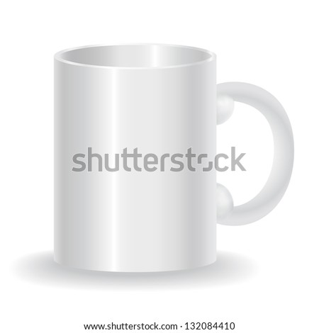 White cup on a white background - vector