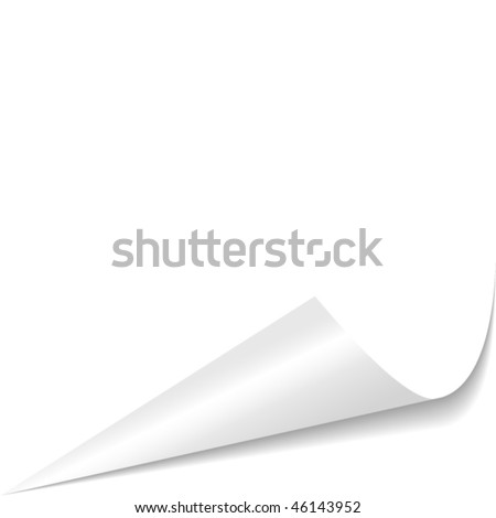White curled glossy paper corner