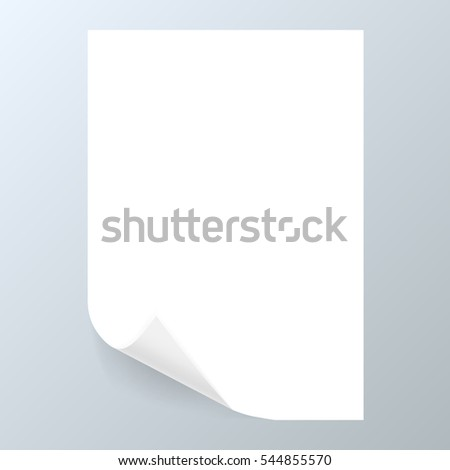 White Curled Paper A4 Note Memo. EPS10 Vector