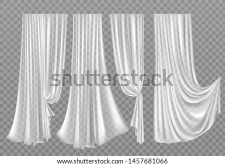 white curtains set isolated on