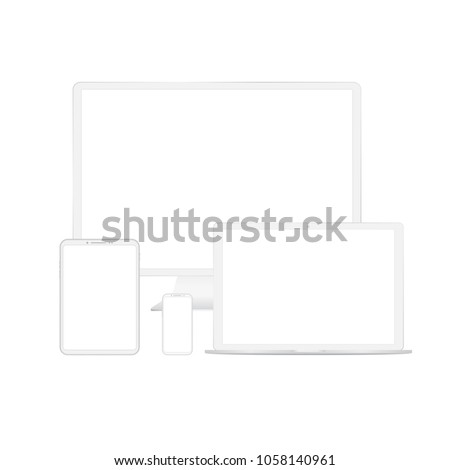 White custom made devices phone with empty screen isolated on white background