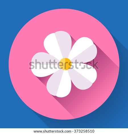 White cute Frangipani flower icon. Nature symbol