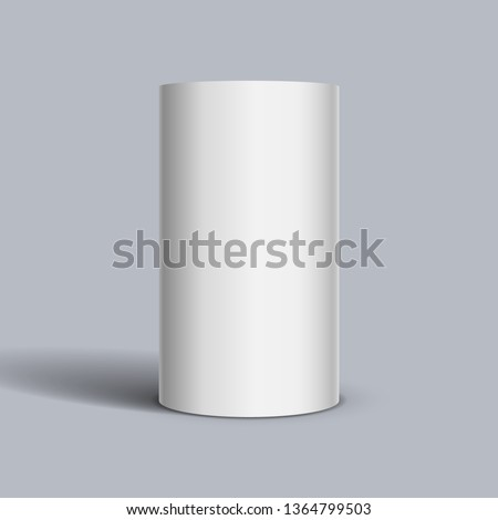 White cylinder on light background. Vector template for your design. Stock photo ©