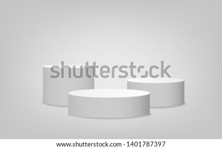 White cylinder podium set with one step, competition winner award platform stage. Empty 3d mockup style design of minimalist contest champion pedestal, vector illustration.