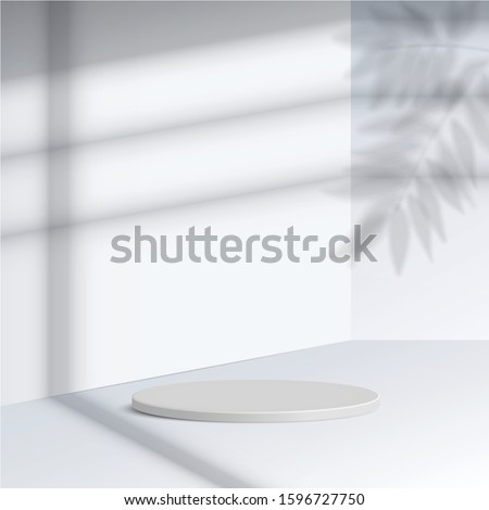 white cylinder podium with shadow leave on white background. Empty pedestal platform for award, product presentation, mock up background, Podium, stage pedestal or platform illuminated. Vector.