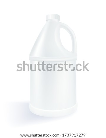 White cylindrical plastic gallon on a white background Used for milk product, alcohol, beverage, oil, water. Realistic file.