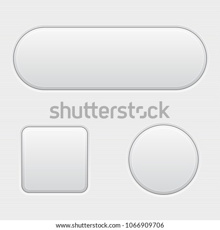 White 3d buttons. Blank set of matted buttons. Vector illustration #1066909706
