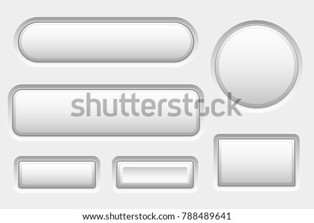 White 3d buttons. Set of blank icons. Vector illustration