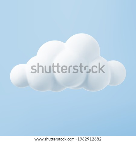 White 3d cloud isolated on a blue background. Render soft round cartoon fluffy cloud icon in the blue sky. 3d geometric shape vector illustration