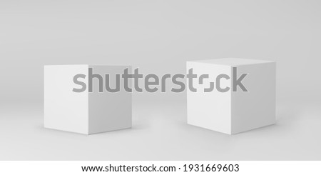 White 3d cubes set with perspective isolated on grey background. 3d modeling box with lighting and shadow. Realistic vector icon Foto stock ©