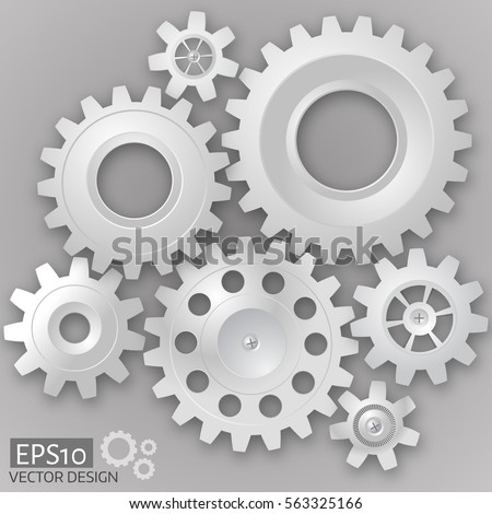 white 3d gears  on the gray