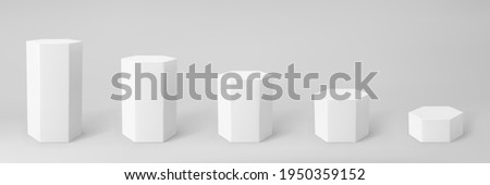 White 3d hexagon podium set with perspective isolated on grey background. Product podium mockup in hexagon shape, pillar, empty museum stages or pedestal. 3d basic geometric shape vector illustration Photo stock ©