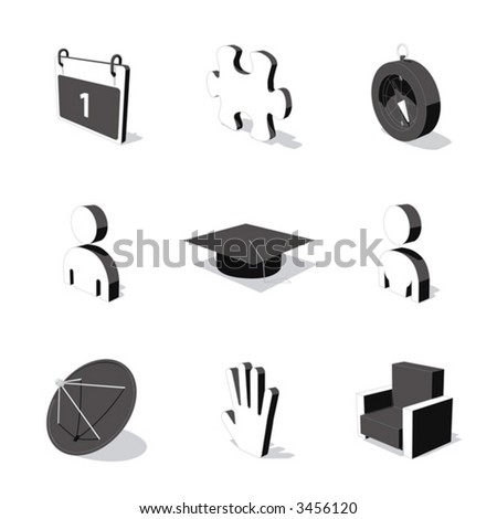 white 3d icon set 05