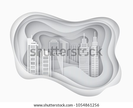White 3d paper art city skycrapers. Abstract paper waves, layers. Modern buildings
