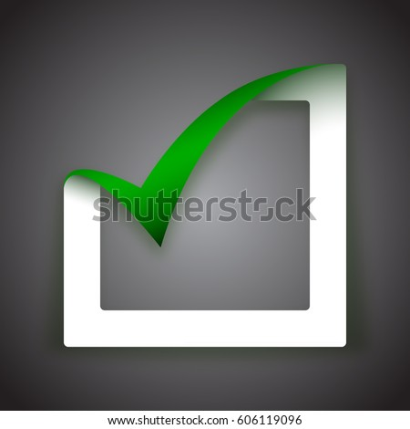 White 3D paper cut box being checked by a green check mark. Green tick sign. Yes, check mark, vote vector illustration