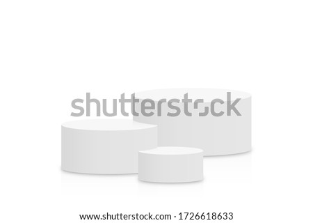White 3d podium mockup in cylinder shape. Empty stage or pedestal mockup isolated on white background. Podium or platform for award ceremony and product presentation. Vector