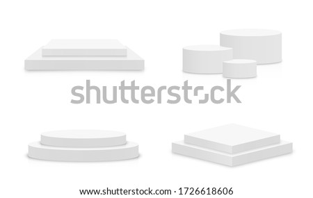 White 3d podium mockup in different shapes. Set of empty stage or pedestal mockups isolated on white background. Podium or platform for award ceremony and product presentation. Vector
