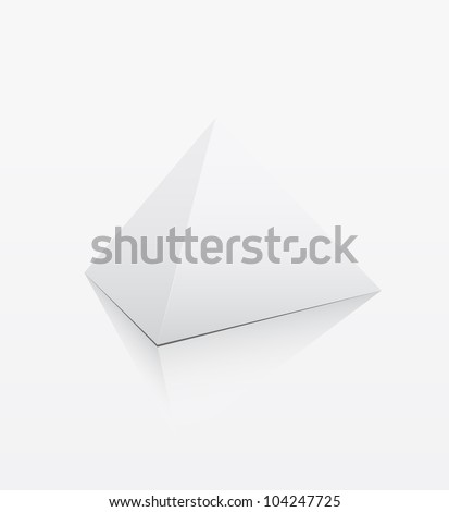 White 3d pyramid on white background - Vector