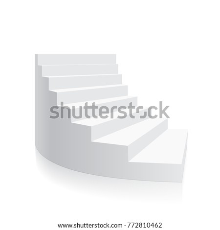 White 3d stair Isolated spiral isometric Vector