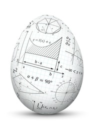 White 3D Vector Easter Egg with Graph Paper Texture and Mathematical Symbols - Math Cheat Slip. Formula Symbol for Education, Science and School Design. Isolated Egg with Smooth Shadow.