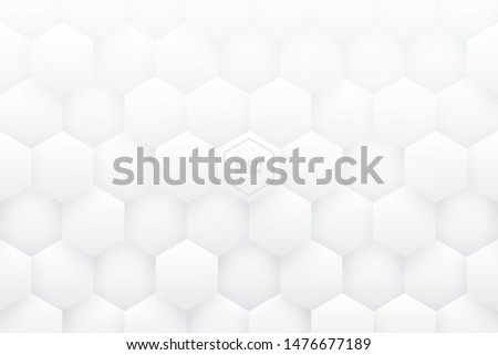 White 3D Vector Hexagons Abstract Background. Science Technology Three Dimensional Hexagonal Blocks Structure Light Conceptual Wallpaper. Tech Clear Blank Subtle Textured Backdrop