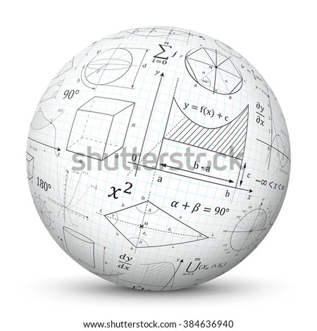 White 3D Vector Sphere with Graph Paper Texture and Mathematical Symbols - Math Cheat Slip.