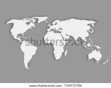Drop shadow world map vector download free vector art stock white 3d world map with dropped shadow on grey background eps10 vector illustration gumiabroncs Gallery